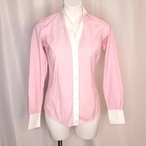 Brooks Brothers Pink Fitted Non Iron Button Up
